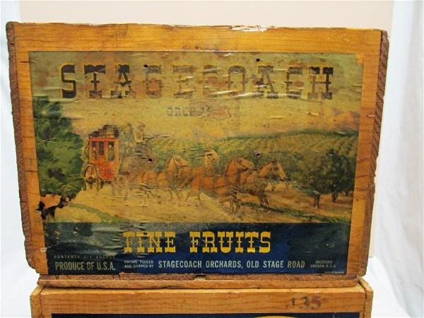 Pear Crate with Paper Label Wood Advertising Box