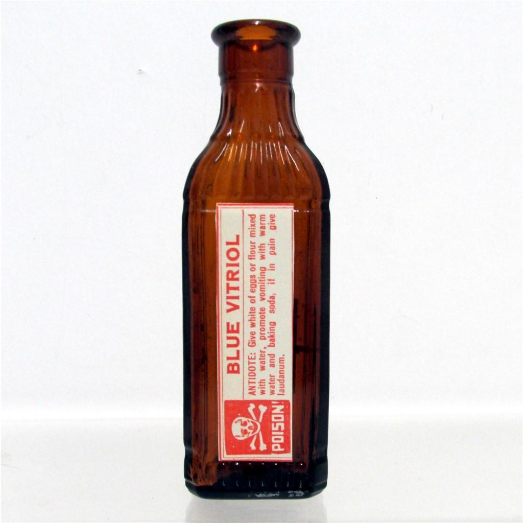 SOLD   Amber Glass Poison Bottle