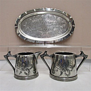 American Cream and Sugar Set with Tray Silver Plate