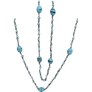 "Necklace 56"" long  Turquoise Beads and Balls"