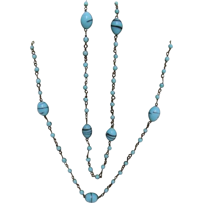"SOLD Necklace 56"" long  Turquoise Beads and Balls"