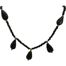 Necklace Art Nouveau Stylized Black Glass