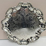 "14"" Diameter Silver Plate Tray Elevated on Four Feet"
