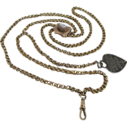 "SOLD   Gold Watch Chain with Cameo Slide and Fob 44"" long"