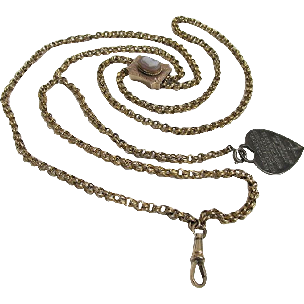 "Gold Watch Chain with Cameo Slide and Fob 44"" long"