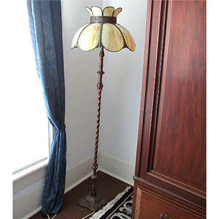Pole Lamp with Slag Panel Shade