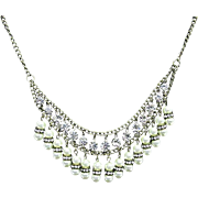 Necklace  Rhinestone and Pearl Choker