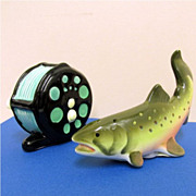 Salt and Pepper Set Fishing Reel and Trout