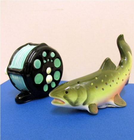 SOLD Salt and Pepper Set Fishing Reel and Trout