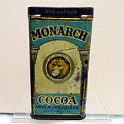 Monarch Cocoa  Hinged Lid Advertising Tin