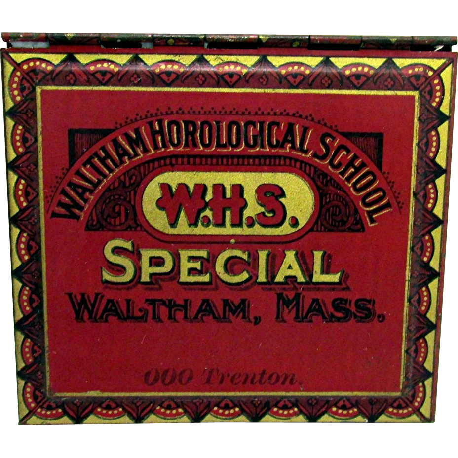 Waltham Horological School Tin with Unused Watch  Springs