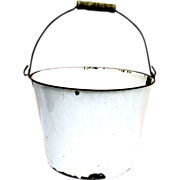 White Enamel Pail or Bucket Wire Bale and Wood Handle