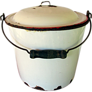 Enamel Pail or Bucket with Enamel Lid