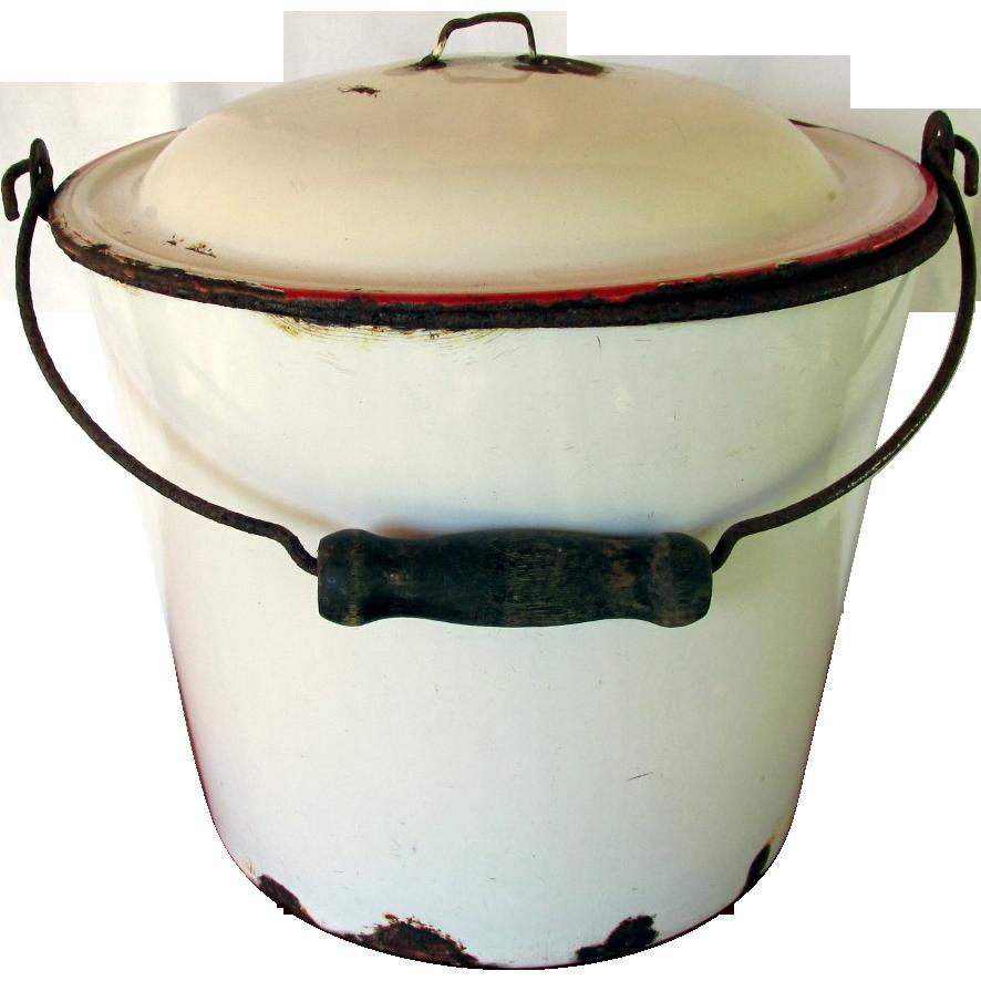 Enamel Pail or Bucket with Enamel Lid