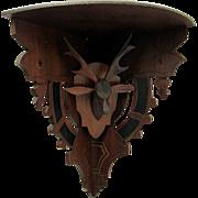 Antique Corner Shelf Hand Carved Stag Head Damage Free