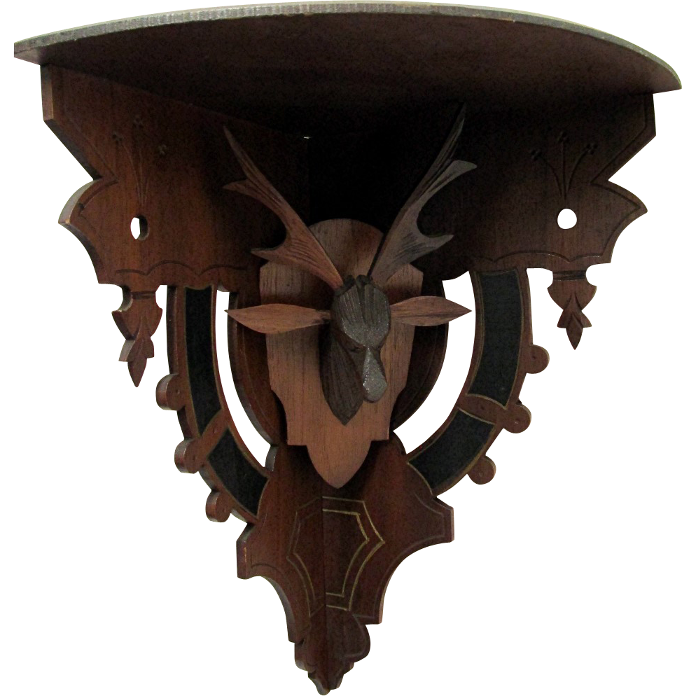Antique Corner Shelf Hand Carved Stag Head Damage Free