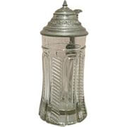 Beer Stein Molded Clear Glass