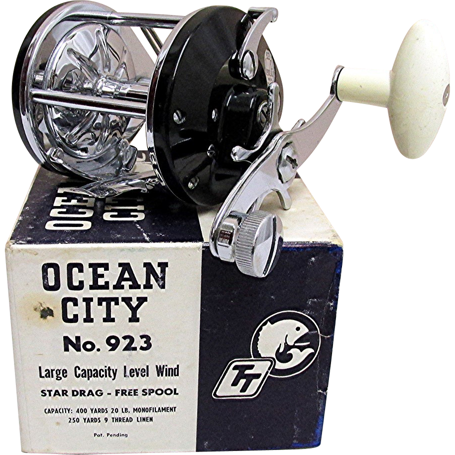 ocean city fishing reel mint in box from drury on ruby lane