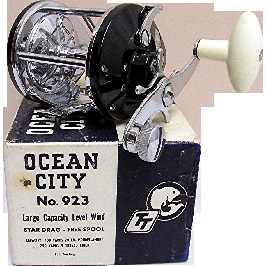 ocean city fishing reel mint in box from drury on ruby lane
