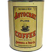 Autocrat Pure Coffee 3 Lbs Advertising Coffee Tin
