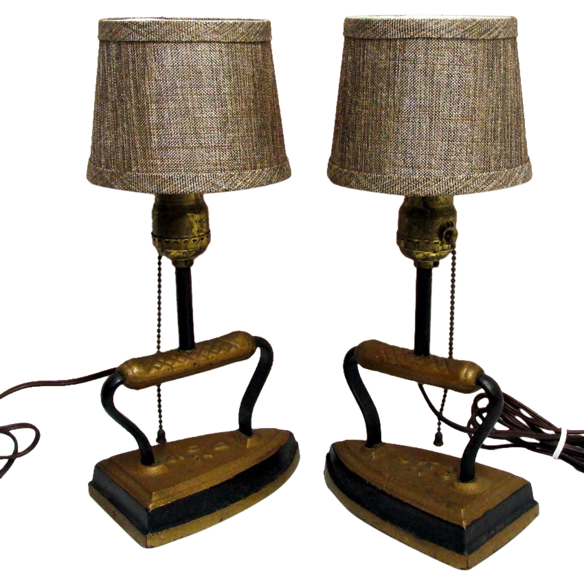 Sad Iron Table Lamps Matching Pair