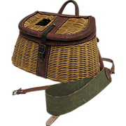Leather Bound Fishing Creel 50% OFF