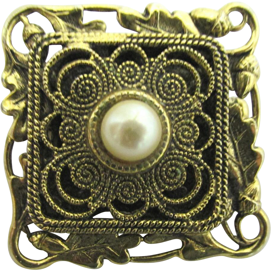 Pin or Brooch by Freirich Pin Large Center Faux Pearl