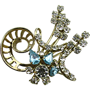 Floral Spray Pin or Brooch Colored Rhinestone Setting