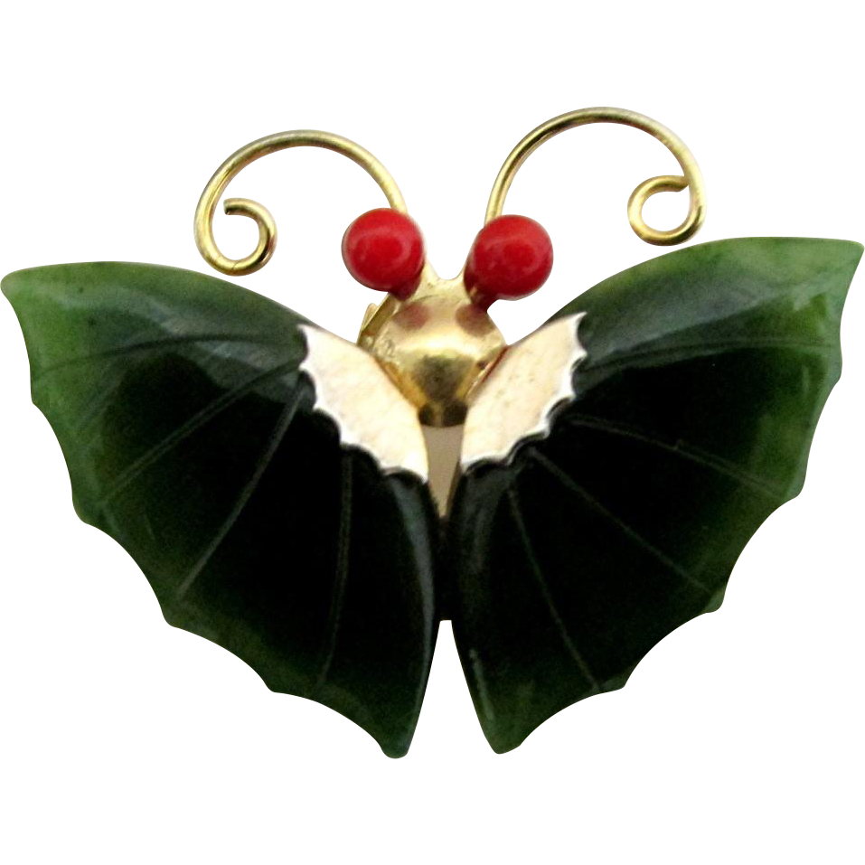 Butterfly Pin, Brooch or Pendant Simulated Jade
