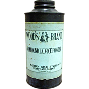 Woods Brand Licorice Powder Advertising Tin from Drugstore or Pharmacy