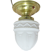Antique Pendant Light with Milk Glass Shade Circa 1910 Hanging Ceiling Lamp Fixture