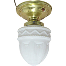 Antique Pendant Light with Milk Glass Shade Flush Mount Hanging Ceiling Lamp Fixture