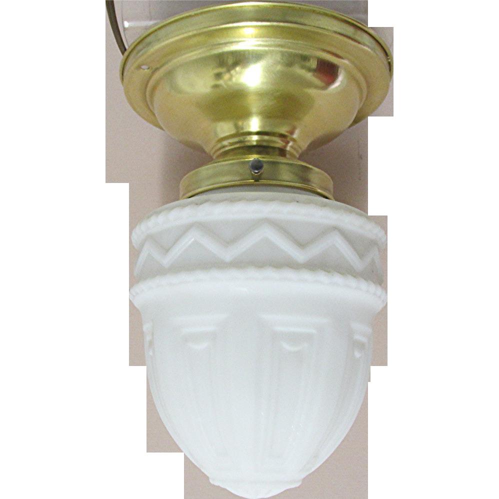 Antique Pendant Light With Milk Glass Shade Flush Mount