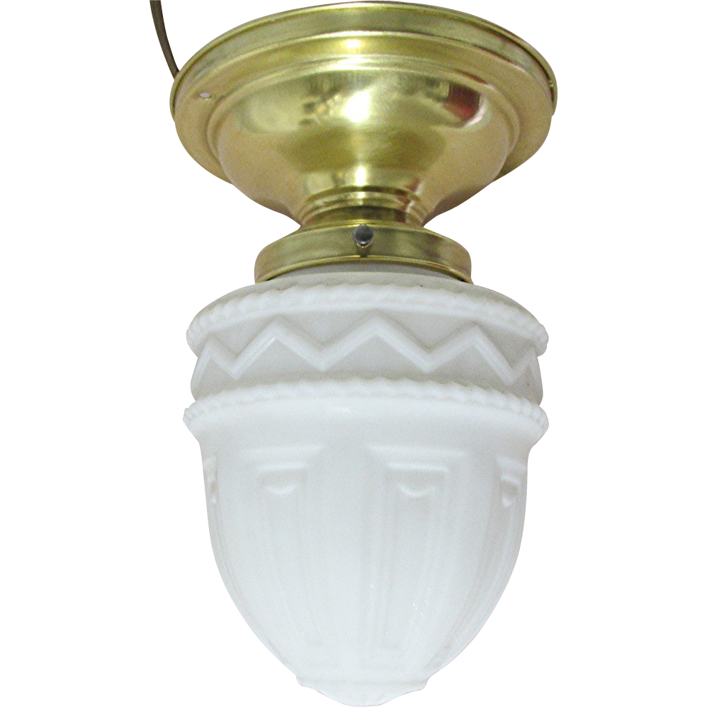 Antique Ceiling Lamp with Milk Glass Shade
