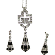 Art Modern Necklace and Earring Set Rhinestone and Black Enameled