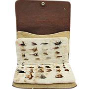 Fly Fishing Wallet Leather with 31 Flies