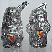 Salt and Pepper Set California Souvenir Brave and Squaw Shakers