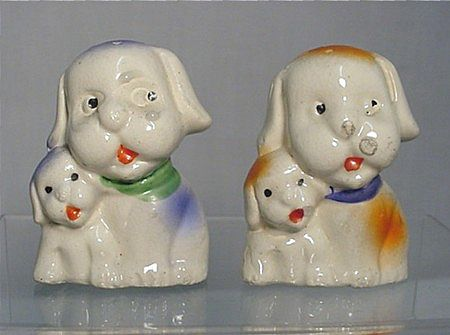 Salt and Pepper Set Dog with Pup Shakers