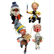 SOLD Santa and His Three Helpers Christmas Ornaments