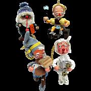 Santa and His Three Helpers Christmas Ornaments
