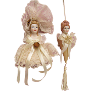 SOLD, Silk Satin Lace Bows Porcelain Head  Victorian Ladies Christmas Tree Ornaments