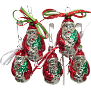 Five Santa Claus Christmas Ornaments Czech Glass