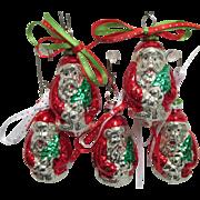 Five Santa Claus Christmas Ornaments Czech Glass