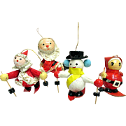 Papier Mache Christmas Ornaments  3 Santas and a Snowman