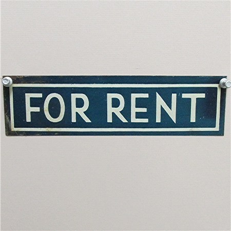 FOR RENT Antique Tin Sign 50% Off