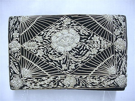 Black Velvet Clutch Purse Gold and Silver Thread Design