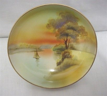 Noritake Dish with Hand Painted Scene