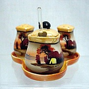 Condiment Set Luster Porcelain Hand Painted Lusterware