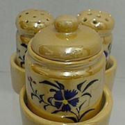 Condiment Set Carmel Luster with Tray   ***Selling at Cost