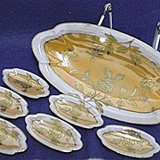 Luster Ware Relish Set Hand Painted Art Nouveau Six Servings